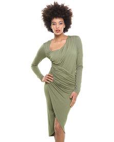 City Goddess Asymmetric Neckline Dress Khaki