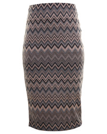 City Goddess Zig Zag Jaquard Pencil Skirt Brown