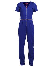 City Goddess London Zip Front Jumpsuit Royal Blue