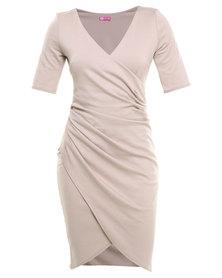 City Goddess Gathered Wrap Over Dress Stone