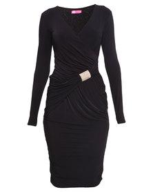 City Goddess London Jersey Wrap Ruched Dress Black