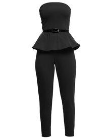 City Goddess London Bandeau Peplum Jumpsuit Black