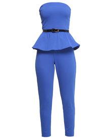 City Goddess London Bandeau Peplum Jumpsuit Blue