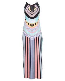 City Goddess London Printed Summer Maxi Dress with Side Splits Multi-Colour
