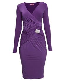 City Goddess London Jersey Wrap Ruched Dress Purple