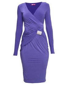 City Goddess London Jersey Wrap Ruched Dress Violet Bue