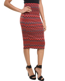 City Goddess Zig Zag Jaquard Pencil Skirt Red