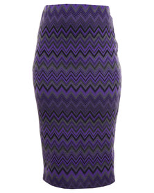 City Goddess Zig Zag Jaquard Pencil Skirt Purple