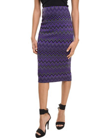 City Goddess Zig Zag Jaquard Pencil Skirt Purple