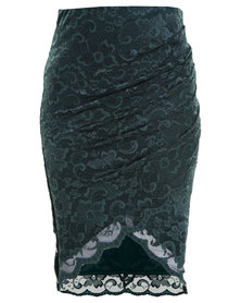 City Goddess Lace Wrap Front Ruched Skirt Green