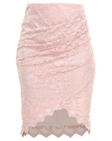 Lace Wrap Front Ruched Skirt Pink