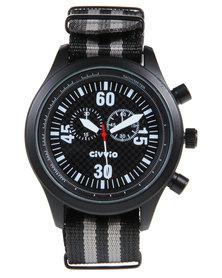 Civvio Nylon Swat Watch Black