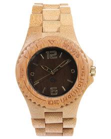 Civvio Round Dark Bamboo Watch