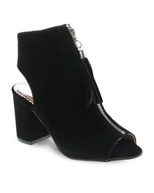 CM Paris Velvet Mid-Zip Detail Heels Black