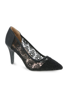 CM Paris Pointed Lace Heels