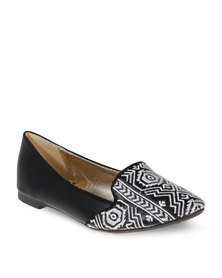 CM PARIS Aztec Slipper Pumps Black