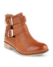 CM PARIS Flat Ankle Boots Camel