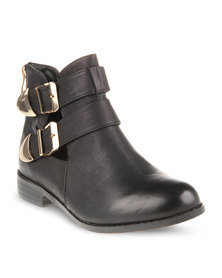 CM PARIS Flat Ankle Boots Black