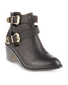 CM PARIS Mid Heeled Ankle Boots Black