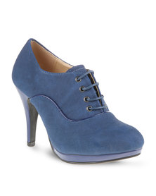 CM PARIS Laced Heel Boot Navy Blue