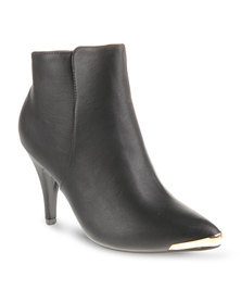 CM PARIS Pointed Stiletto Ankle Boots Black