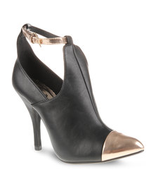 CM Paris Bimaterial Stiletto Ankle Boots Black