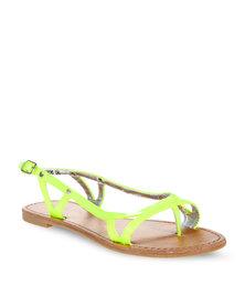 CM PARIS Flat Slingback Sandals Neon Yellow