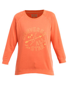 Converse Quilted Graphic Crew Top Poppy
