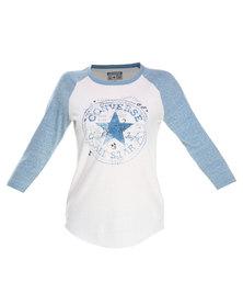 Converse Raglan Sketch Chuck T-Shirt Blue