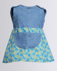 Cotyledons Denim Printed Dress Blue
