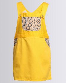Cotyledons Dungaree Dress Yellow