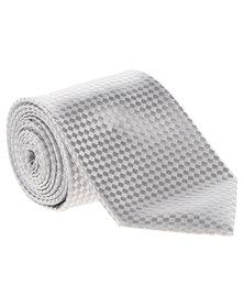 Cravateur Tonal Diamond Tie Silver-Grey