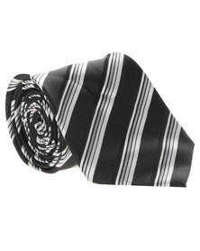 Cravateur Mono Diagonal Stripe Tie Black and Silver