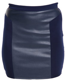 Crave Leather Skirt Blue