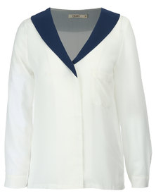 Crave Chiffon Blouse White/Navy