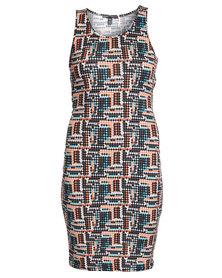 Crave Pixel Dress Multi-Coloured