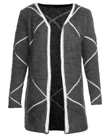 Crave Geo Soft Knit Cardi Grey