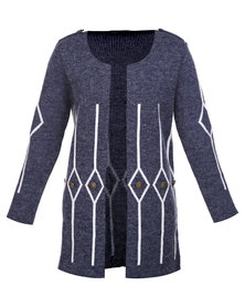 Crave Long Cardigan Navy