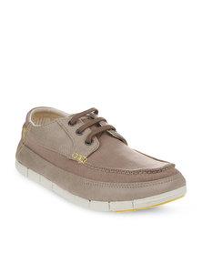 Crocs Stretch Sole Lace-Up Shoes Beige