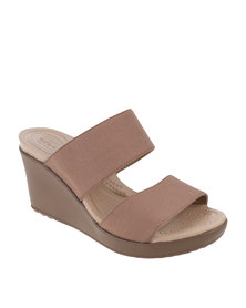 Crocs Leigh II 2-strap Wedge W Bronze