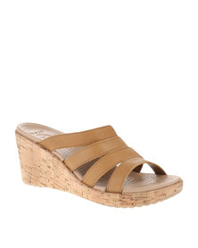 Crocs A-Leigh Leather Wedge Sandals Brown