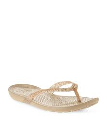 Crocs Really Sexi Glitter Flip-Flops Gold