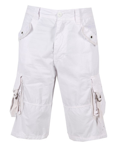 Crosshatch Poltruct Cargo Shorts White