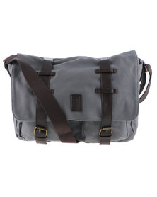 Crosshatch Cajon Canvas Satchel Messenger Bag Grey