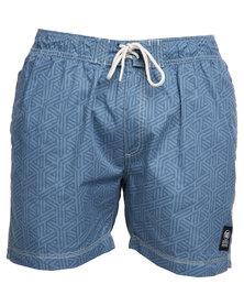 Crosshatch Abstrack Shorts Blue