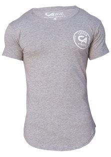 Custom Apparel Athletic Curved Bottom Drop-Tee Grey Melange