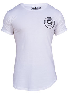 Custom Apparel Athletic Curved Bottom Drop-Tee White
