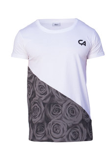 Custom Apparel Rose Range Tee Grey Rose Slant White