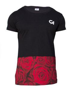 Custom Apparel Rose Range Tee Red Rose Block Black