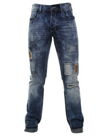 Cutty Rip Denim Slim Leg Jeans Blue